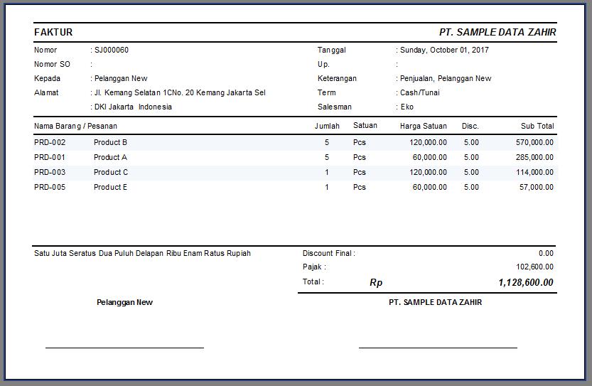 Faktur Penjualan Setengah Halaman Zahir Accounting 6 Pt